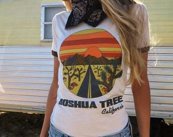 Joshua Tree California Ringer Tee- Desert Tee- 70s 80s- Vintage Inspired- Graphic Tee- Women's Fitted T-shirt- Sweatshop Free