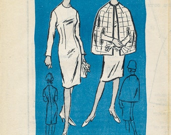 1960s Women's Sheath Dress and Cape Mail Order Pattern A936 Bust 34