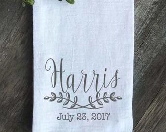 Personalized Flour Sack Towel, Farmhouse towel, Custom Kitchen towel, Wedding gift, Anniversary Gift, Wedding Favor, Housewarming gift