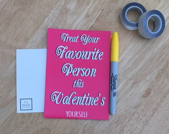Treat Yourself | Funny Feminist Valentine's Joke Galentine's Day Postcard Print Gift for Friend | ONE LEFT