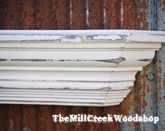 "Wall Shelf 48"" Farmhouse Distressed Ledge Fireplace Mantel Barn Shelves Rustic Home Decor Floating Mantle"