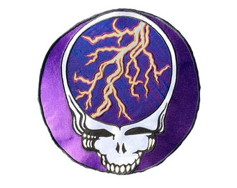 Steal Your Face Grateful Dead Handmade Applique Patch Purple Lightning OOAK Psychedelic Wearable Art