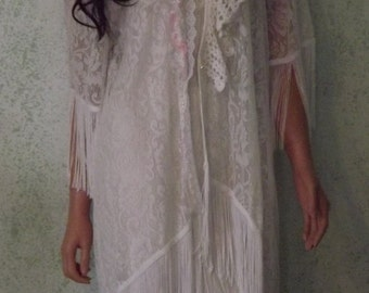 Shabby Couture Bridal Kimono Beach Wedding Boho Cover-up Ready to Ship