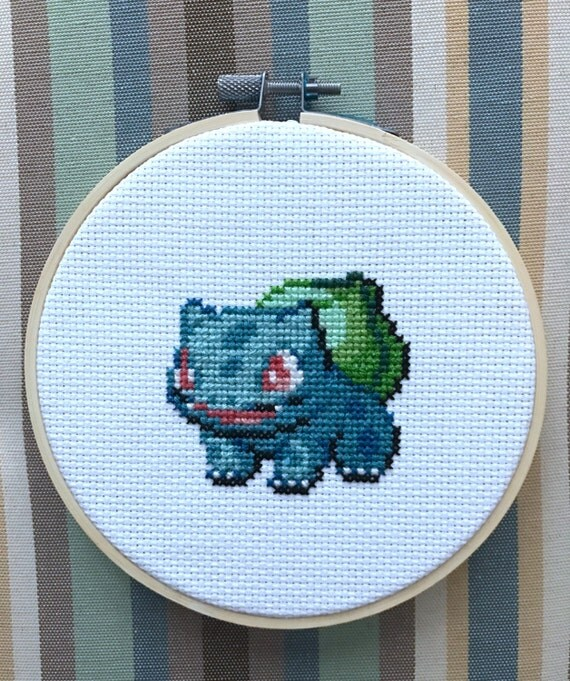 "Bulbasaur Pokemon Cross Stitch Needlepoint Embroidery in 5"" Hoop"