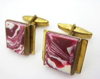 Vintage cufflinks Cuff Links purple white vintage Jewelry For men Soviet Groomsmen gift