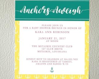 Nautical Anchor Baby Shower Invitation