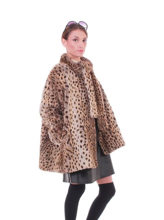 6ea34e6c1e5ab Plus Size Leopard Print Faux Fur Coat