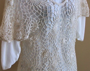 Natural Crochet Lace Tunic Top