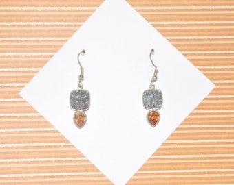 Earrings Sterling Silver Titanium Druzy Topaz #E10a