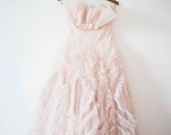 Gorgeous 1950s Tule Gown    Vintage Prom    Strapless Bubblegum Pink Gown