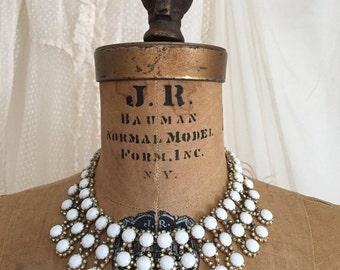 Vintage Cleopatra Necklace / Kramer / Aurora Boralias / Milk Glass / Bib Necklace