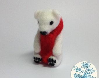 Needle Felted Polar bear, cute felt, nature lover
