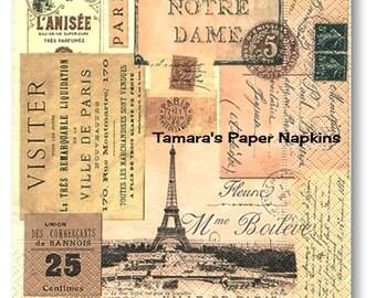 4 Decoupage Napkins, Paper Napkins, VILLE DE PARIS Vintage France 33cm 13 inches. 2000 Printed Designs For Papercraft Visual Arts Collage