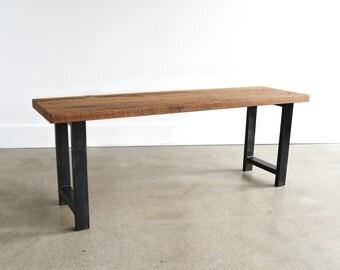 Reclaimed Wood Bench / Industrial Steel H-Shaped Legs