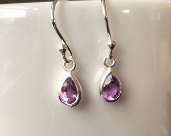 Purple Amethyst Teardrop Earrings, Sterling Silver Amethyst Earrings, February Birthstone Jewellery Gift, Gemstone Dangle Earrings