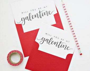 Will You Be My Galentine Card, Galentine's Day Card, Valentine's Day Card, Calligraphy Card, Hand Lettered Card, Friendship Card, BFF Card