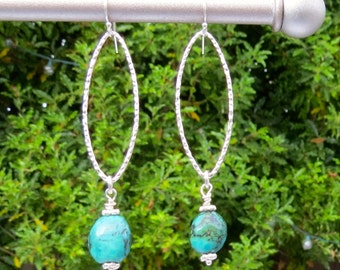 Turquoise Sterling Silver Marquise Earrings