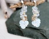 Long Swarovski crystal earrings White gold crystal earrings Beaded wedding earrings Drop bridal bridesmaids earrings Sterling Silver studs