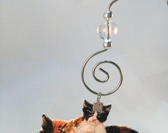 Calico Cat Ornament, Christmas Decoration, Cat Ornament, Orange Black White, Tree Hanging, Kitty Cats