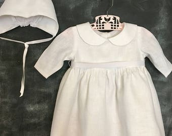 Linen Baptism/Christening/Flower Girl Dress With Vintage Style Bonnet. Classic Empire Style, Long Sleeves, Peter Pan Collar, 3 Mos-4T