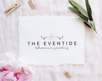 premade logo design · wild boho · bohemian logo · boutique logo · photography watermark logo · small business branding · floral laurel logo