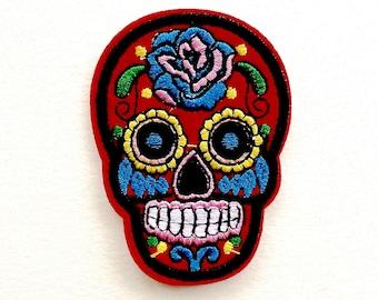 Red Sugar Skull Day of the Dead Iron On Appliqué Patches - 71mm - Rockabilly - Retro - DIY - Dia de los Muertos - Rose