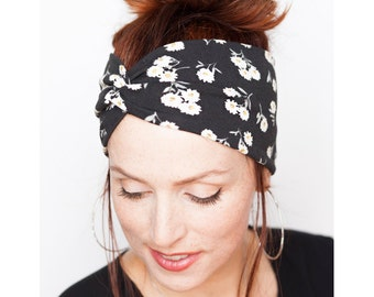 Black Headband w Flowers - White Flowers - Flowery Headband - Yoga Headband Womens Hair Accessories Workout Headwrap Christmas gift for her