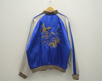 Sukajan Jacket Sukajan Dragon Bomber Jacket Japanese Traditional Jacket Hawk Dragon Embroidered Satin Jacket Mens Size XL
