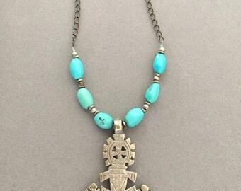 Ethiopian Cross with Turquoise
