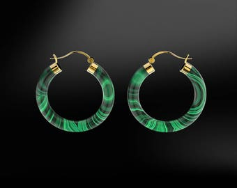 MALACHITE Hoop Gold Earrings