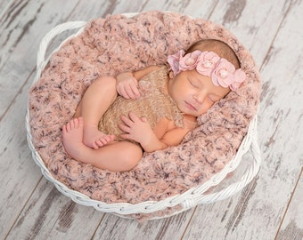 Pink rosette Headband, Baby Headbands,Lace Headband, Pink Baby Headband, Easter Headband, Flower Girl Headbands, wreath Headbands