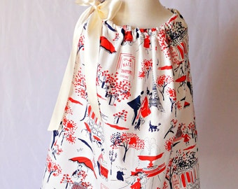 Toddler Pillowcase Dress, Pillowcase Dress, Toddler Little Girls Dress, Little Girls Dresses, Spring Dress, Paris Navy Red