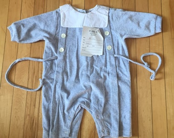Vintage 1980s Baby Infant Boys Blue One Piece Romper Outfit! Size 6-9 months
