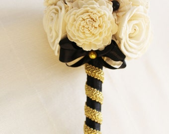 Bridal Bouquet or Bridesmaid bouquet , Wedding Cream /black and gold Bouquet, Sola flowers