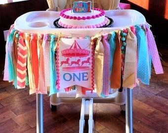 Carousel Highchair banner, Carnival High chair Banner, 1st Birthday Girl, 1st Birthday banner, Cake smash photo prop,