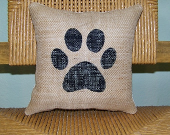 Dog pillow, paw print pillow, pet pillow, burlap Pillow, stenciled pillow, FREE SHIPPING!