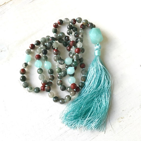 Bloodstone Mala Beads, Root Chakra Mala, Mala For Courage, 108 Bead Hand Knotted Mala, Silk Tassel Meditation Beads, Natural Healing Mala