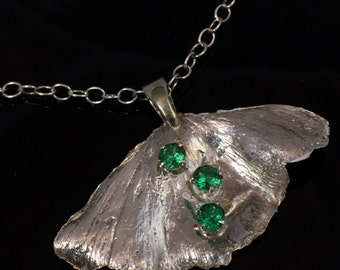 """Ginkgo Leaf Necklace Sterling Silver with Green CZ Gemstones and 18"""" chain"""