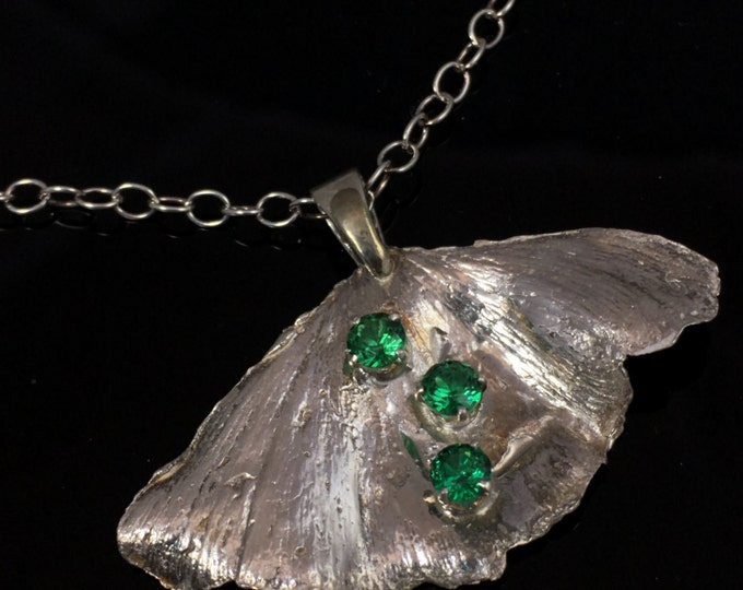 "Ginkgo Leaf Necklace Sterling Silver with Green CZ Gemstones and 18"" chain"