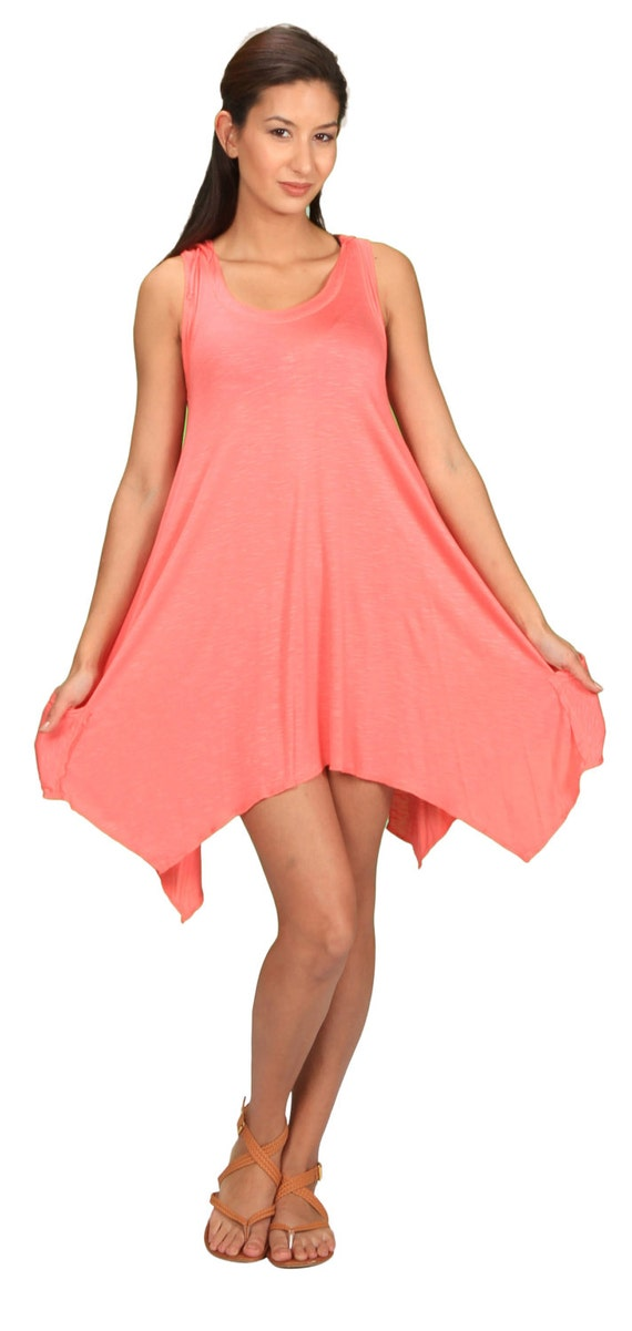 Pixie Sleeveless Hoodie Dress in Coral Pink for Womens Festival Wear Boho Chic