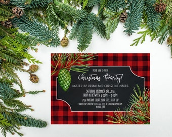 Lumberjack Christmas Party Invitation Printable Rustic Christmas Party Invite Buffalo Plaid Christmas Invite Winter Party Open House 112