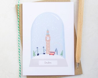 London City Christmas Card - London Card - London City Card - London Card - Snow Globe Christmas Card - London Christmas Card - London