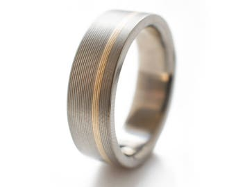 Mens Wedding Rings - Titanium Ring With Offset 14k Yellow Inlay. Mens two toned wedding bands, engagement ring for men, titanium and gold