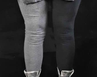 Legging mi-parti Black and Grey - Recycled - Handmade - One of a Kind -