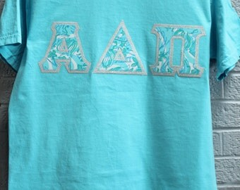 Lagoon Comfort Color with Alpha Delta Pi Lilly on Metallic Silver