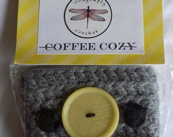 CLEARANCE- Coffee Cozy- grey with yellow and black vintage buttons