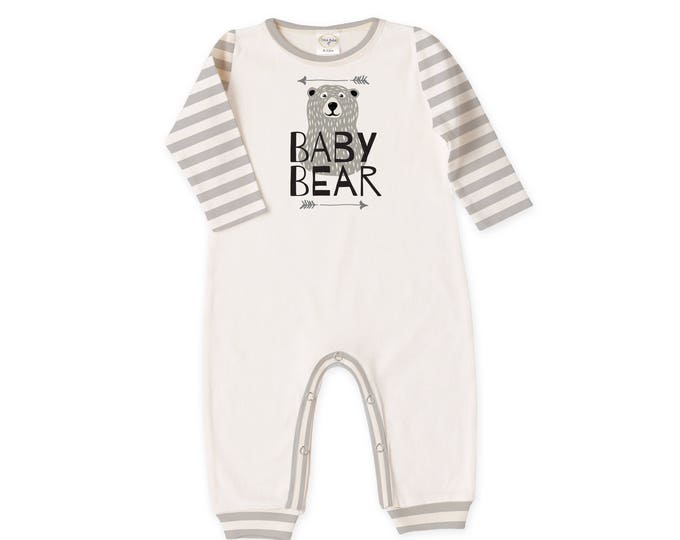 Baby Boy Outfit, Newborn Boy Coming Home Outfit, Baby Romper Bodysuit, Long Sleeve, Scandinavian, Gray Stripe, Baby Bear, TesaBabe