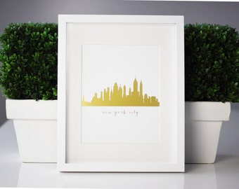 "Gold Foil Print ""New York City""- New York City Skyline Print, Gold Foil, NYC, Decor, NYC Skyline, Home Decor, City Decor, City Print"