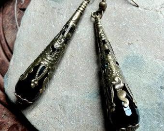 Onyx earrings, bohemian earrings, gemstone earrings