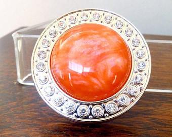 Orange Purse Hanger, Bling Chrome, Purse Holder, Custom Mixed Acrylic, Hand Turned Center, Tangerine Orange, Purse Accessory, Handbag Saver